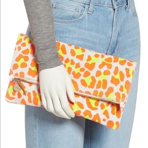 NWT Clare V. foldover clutch in neon cat suede